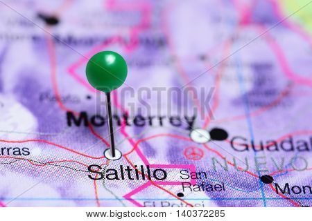 Saltillo pinned on a map of Mexico