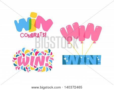Win sign with colour confetti vector paper illustration. Success luck message contest promotion win text. Banner competition award lucky lottery word win text. Shop or web site reward gamble champion