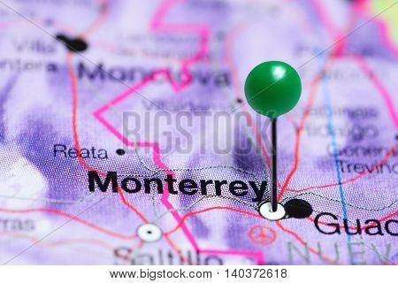 Monterrey pinned on a map of Mexico