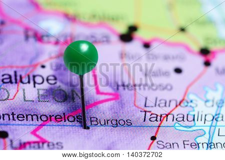 Burgos pinned on a map of Mexico