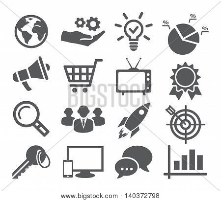 Gray Marketing icon set on white background