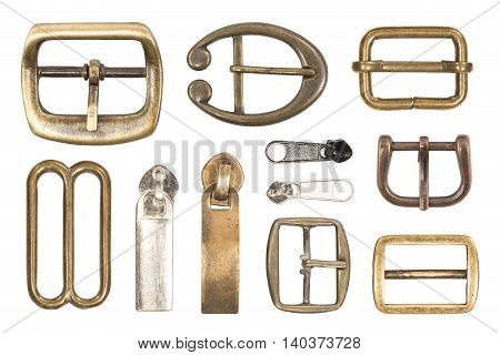 Various belt buckles isolated on white background