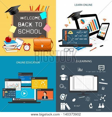 Design concept of education and online learning.Back to school template with blackboard and items for school. Icons for education online education online learning