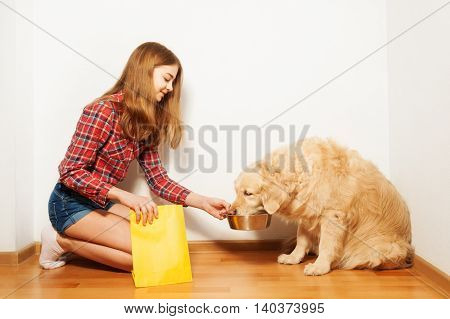 Careful teenage girl feeding her Golden Retriever doggy with forage, sitting on her knees at the floor against the background with copy-space