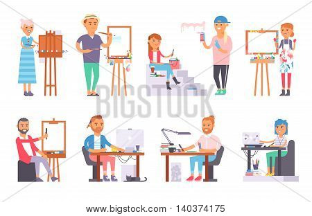 Group of young artist creative people in studio during pain work. Portrait drawing female artist creative people vector. Colorful adult painter artist creative people beautiful girl with paintbrush.