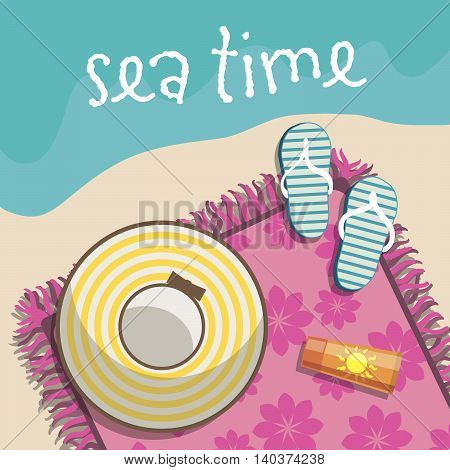 recreation at the seaside. relaxing on the beach. colored illustration