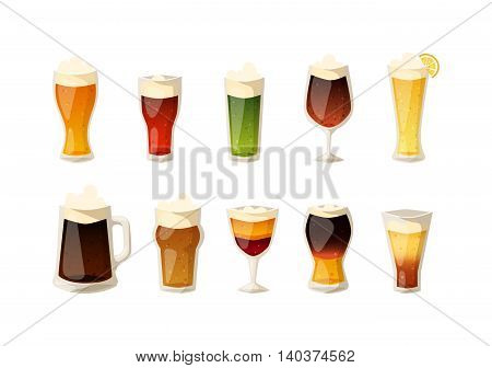 Beer vector icons set. Beer bottle, glass and different types of beer label. Alcohol drinks cups vector icons isolated. Oktoberfest beer light and dark drink vector cups mugs