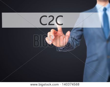 C2C -  Businessman Click On Virtual Touchscreen.