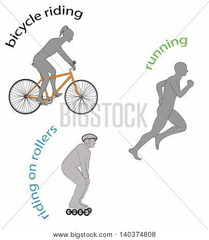 healthy lifestyle. Riding on rollers, bicycle riding, running.  vector illustration
