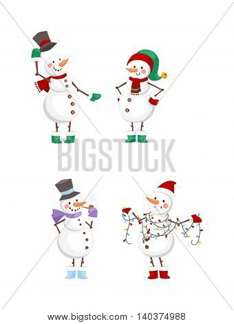 Vector cartoon cute white snowman in clothes with attributes of Christmas in hands on white background. Color cartoon snowman characters. Vector cartoon snowman