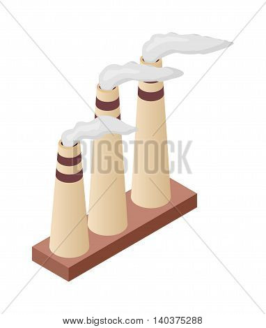 Isometric factory tube vector icon. Industrial pipe infographic element isometric industrial factory, Some warehouse trumpet industrial symbol. Architecture exterior cityscape
