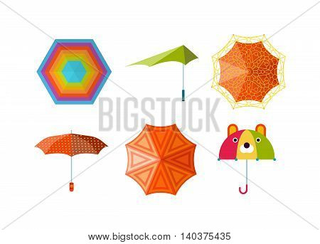 Set of cute multi colored umbrellas in flat design style. Autumn accessory concept fashion umbrella. Colorful flat collection comfort umbrella outdoor element, climate protective sign.
