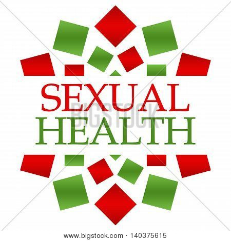 Sexual health text written over green blue background.