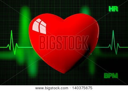 Heart With Heart Rate Graph Background, 3D Rendering