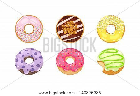 Set of cute sweet colorful donuts. Brown chocolate yummy cookie donuts food. Candy decoration color donuts collection.
