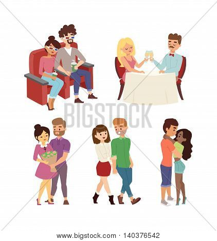 Young smiling dating couple enjoying meal gorgeous restaurant and drinking wine. Man whispering to woman wine glass, dating couple restaurant. Dating couple meeting street vector bouquet flowers.