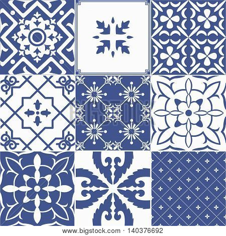 Big vector set of blue tiles background. For wallpaper backgrounds decoration for your design ceramic page fill and more.