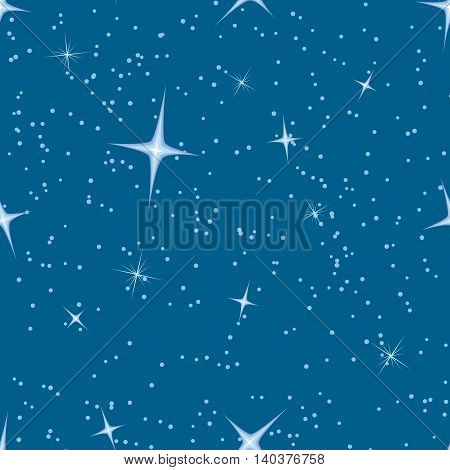 Vector deep blue sky seamless background with blurry stars.
