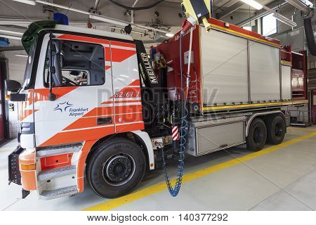 FRANKFURT GERMANY - JULY 24 2016: Modern fire trucks at the airport Fire Department in Frankfurt Main International Airport