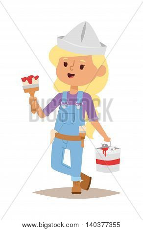 Builders kid artist painting girl artist builder with tools. Vector character builder kid, cute child construction. Little person work equipment. Fun young profession.