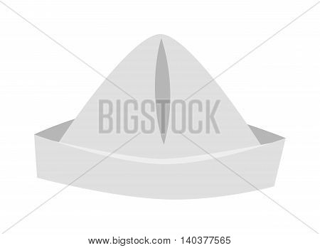 Paper cap as origami handicraft vector illustration isolated on white background. Event shape color accessory paper hat, painter head symbol. Personal single paper hat origami cap fun decoration.
