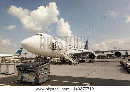 FRANKFURT GERMANY - JULY 24 2016: Saudia Cargo Boeing 747 at the Frankfurt International Airport