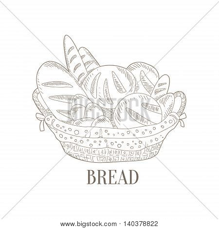 Different Bread In Wicker Basket Hand Drawn Realistic Detailed Sketch In Classy Simple Pencil Style On White Background