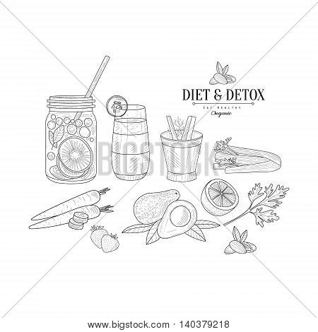 Fruit And Vegetables Diet Hand Drawn Realistic Detailed Sketch In Classy Simple Pencil Style On White Background