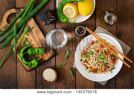 Udon Noodles With Meat And Vegetables In An Asian Style. Top View
