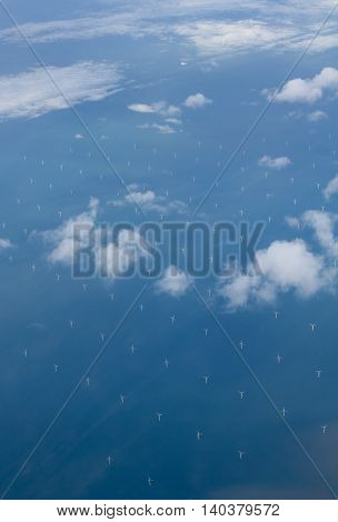 wind turbines in the sea. Aerial view. England