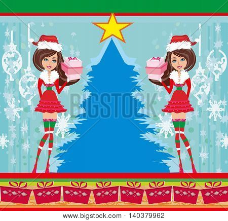 beautiful pin-up girls in Christmas inspired costume , vector illustration