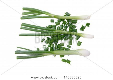 Cut fresh green onion isolated on the white background
