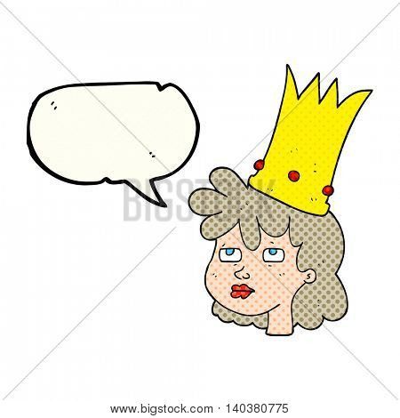 freehand drawn comic book speech bubble cartoon queen with crown