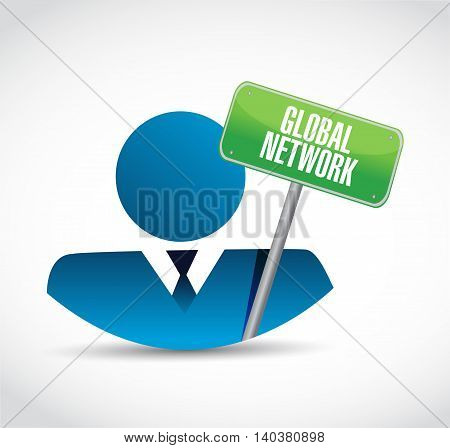 Global Network Businessman Sign Concept