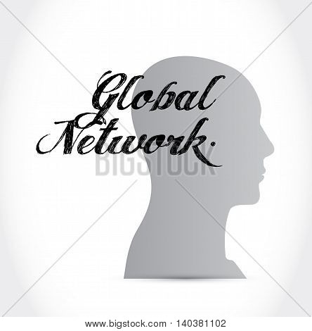 Global Network Thinking Brain Sign Concept