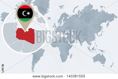 Abstract Blue World Map With Magnified Libya.