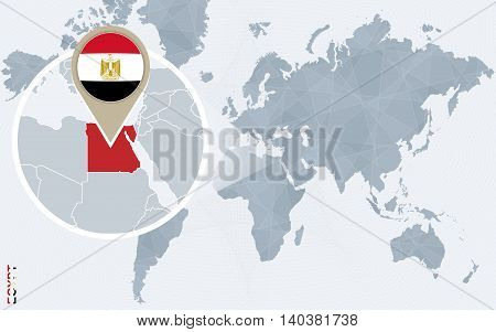 Abstract Blue World Map With Magnified Egypt.