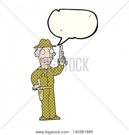 freehand drawn comic book speech bubble cartoon sheriff