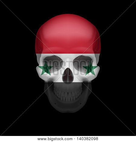 Human skull with flag of Syria. Threat to national security war or dying out