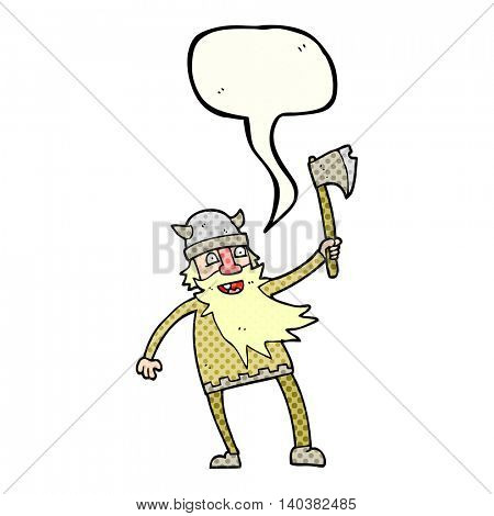 freehand drawn comic book speech bubble cartoon viking