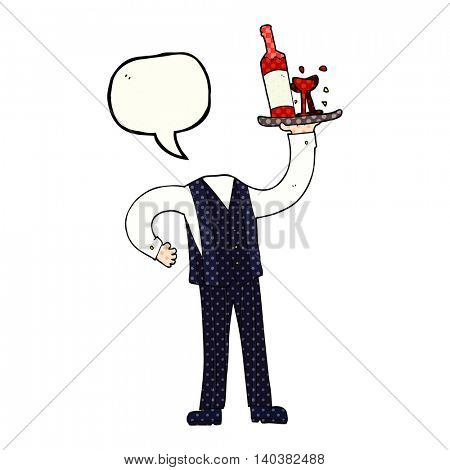 freehand drawn comic book speech bubble cartoon headless waiter (add own photos)