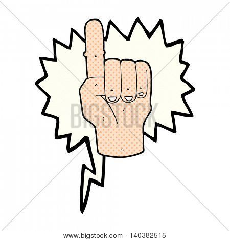 freehand drawn comic book speech bubble cartoon pointing finger
