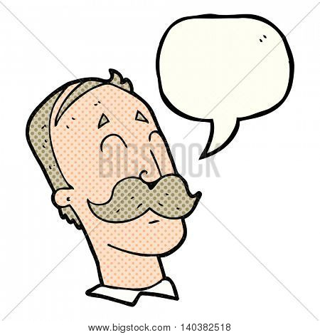 freehand drawn comic book speech bubble cartoon ageing man with mustache