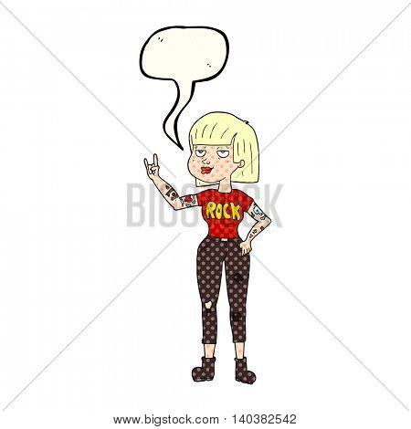 freehand drawn comic book speech bubble cartoon rock girl