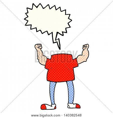 freehand drawn comic book speech bubble cartoon headless man