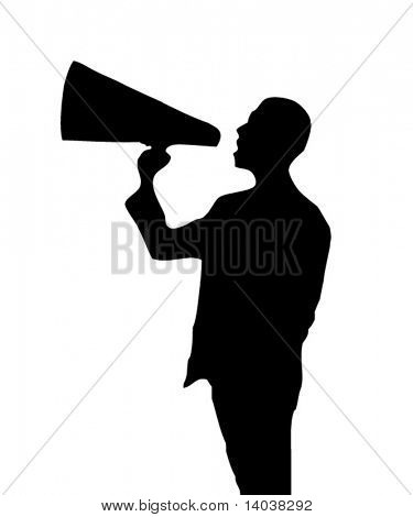man with a loudspeaker