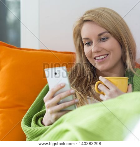 View of beautiful woman with mobile phone