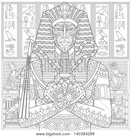 Stylized ancient pharaoh and egyptian symbols (hieroglyphs) on the background. Freehand sketch for adult anti stress coloring book page with doodle and zentangle elements.