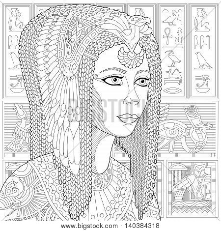 Stylized ancient queen Cleopatra (or Nefertiti) and egyptian symbols (hieroglyphs) on the background. Freehand sketch for adult anti stress coloring book page with doodle and zentangle elements.
