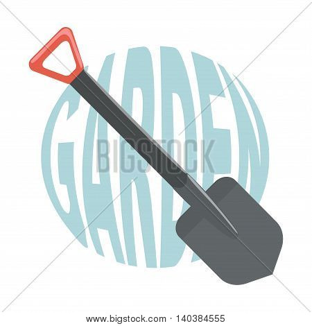 Shovel for garden with text. Vector illustration.